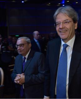 Giuseppe Bono con il premier Paolo Gentiloni a Monfalcone