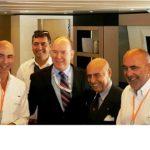 Tilli Antonelli (ultimo a destra) e Paolo Favilla (primo a sinistra) ricevono il premio Platinum Green Plus dal principe Alberto II a conclusione del Monaco Boat Show 2016