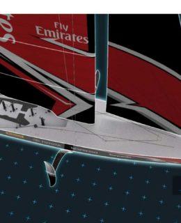 Il rendering di AC75, barca volante del futuro