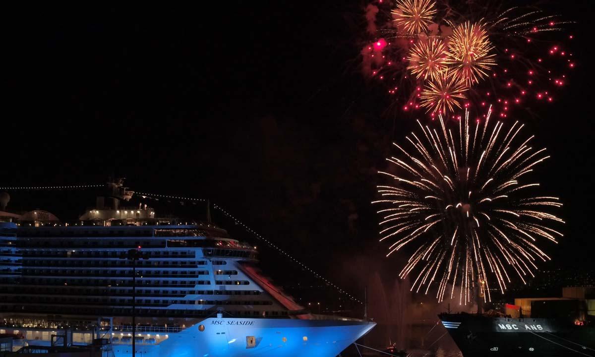 Fuochi d'artificio nel cielo di Miami