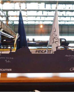 Seven Seas Splendor. Tagliata la prima lamiera nello stabilimento Fincantieri di Ancona