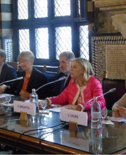 Icona Baglietto. L'inaugurazione. Da sinistra Signorini, Pinotti, Bucci, Baglietto e Lauro