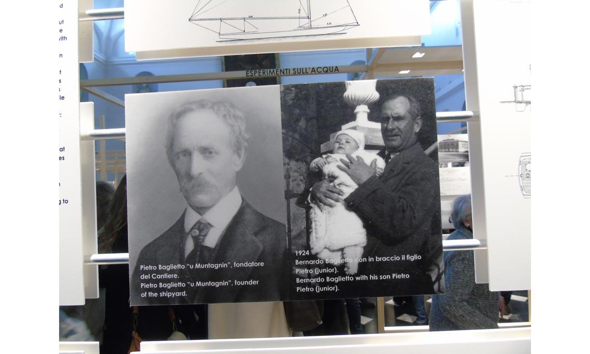 A sinistra Pietro Baglietto, il fondatore. A destra Bernardo con Pietro junior in braccio