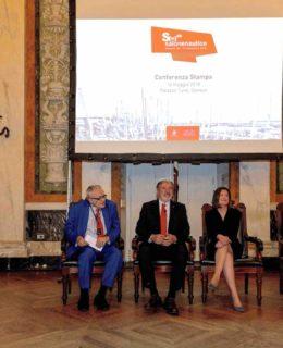 Nautico 2018. Carla Demaria tra Paolo Odone, Marco Bucci e Giovanni Toti