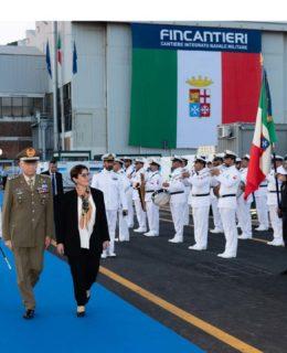 Support Ship Vulcano. La cerimonia con il ministro della Difesa