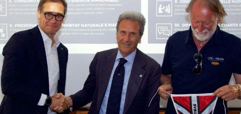 Partnership Barcolana e One Ocean: da sinistra Mitja Gialuz, Riccardo Bonadeo e Mauro Pelaschier